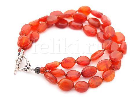 многорядный браслет из сердолика_оранжевый браслет фото