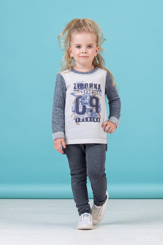 Джемпер серый для девочки 76-8010-1