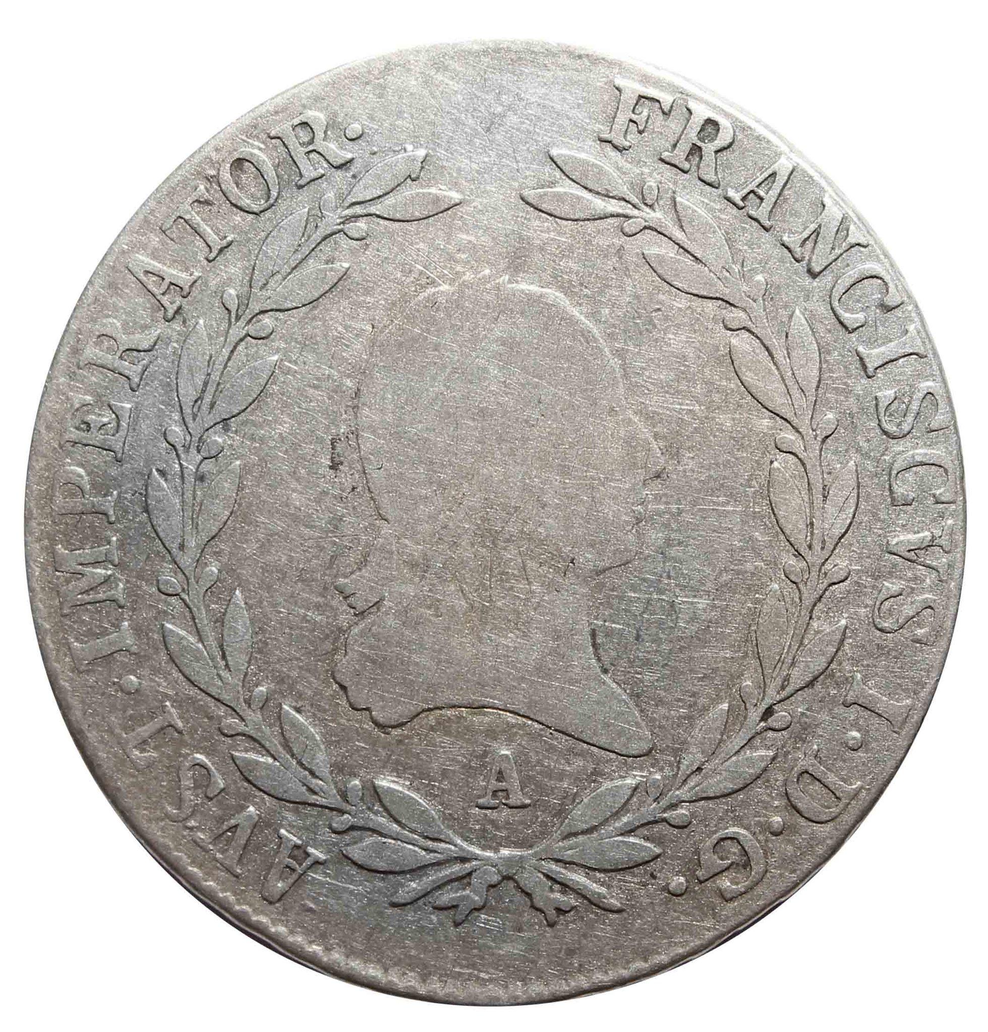 20 крейцеров. Франц I. А. Австрия. 1808 год. Серебро. F