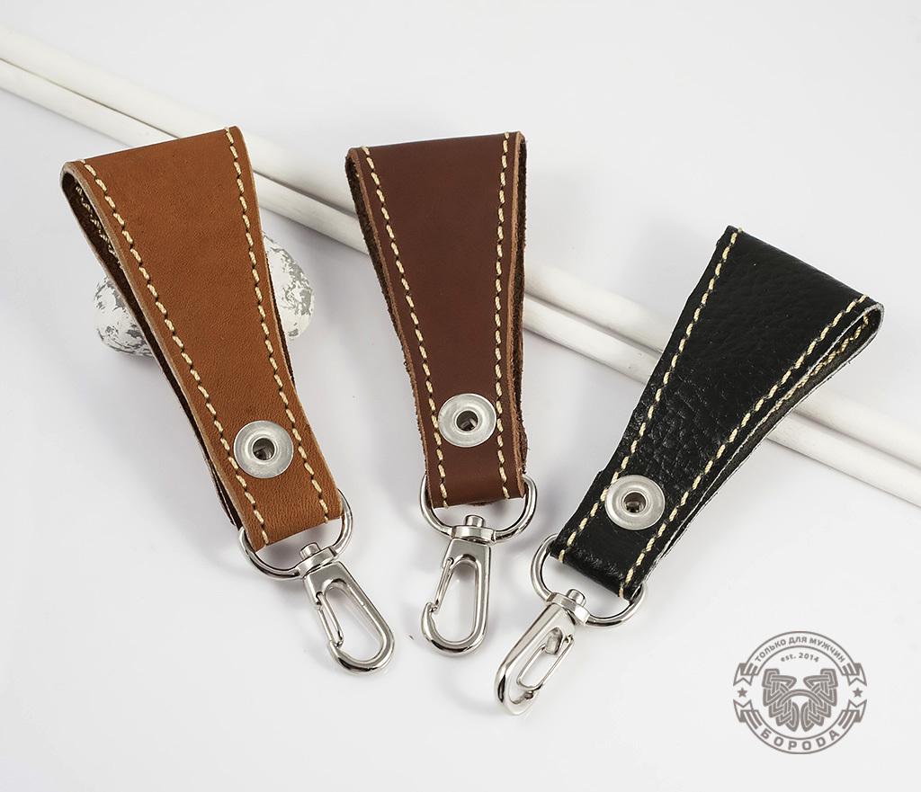 KR113-2 Кожаный брелок ручной работы (коричневый) фото 03