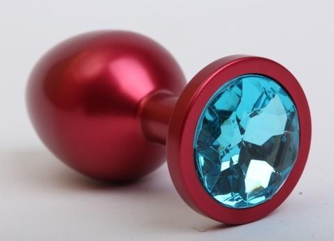 Пробка металл красная с голубым стразом 8,2х3,4см 47108-4MM