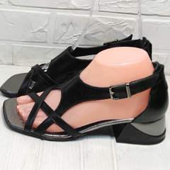Женские босоножки на каблуке Evromoda 166606 Black Leather.