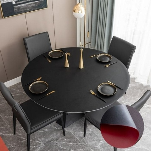 Кожаная скатерть на стол Лардук D 90 см черная