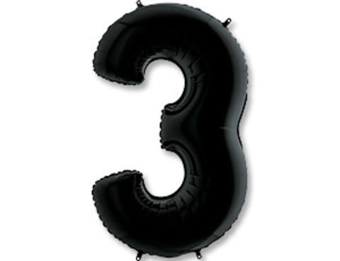 Цифра, 3, Черный (Black), 40''/102 см, 1 шт.