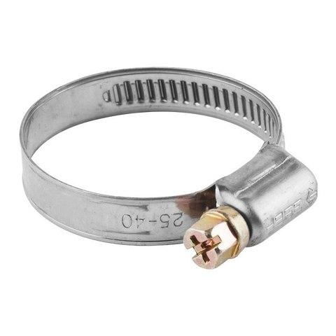 Хомуты, нерж. сталь, накатная лента 12 мм, 25-40 мм, 100 шт, ЗУБР Профессионал
