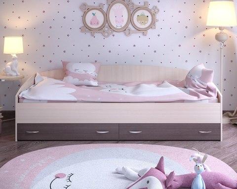 Кровать с выкатными ящиками