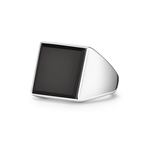 Кольцо-печатка SQUARE с черным ониксом