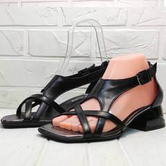 Женские сандали босоножки с квадратным носком Evromoda 166606 Black Leather.