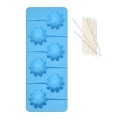 Форма из силикона для леденцов «Цветочки» 22х9х2 см, 6 ячеек, 12 пластиковых палочек в комплекте