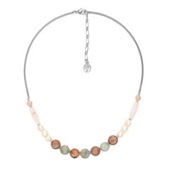 Колье Nature Bijoux MANYARA Тонкое из яшмы, розового кварца и лунного камня и жемчуга