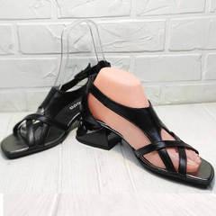 Кожаные босоножки с закрытой пяткой Evromoda 166606 Black Leather.