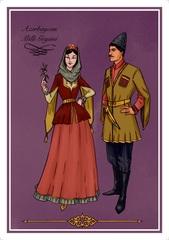 Açıqca \ Открытки \ Postcard Azərbaycan Milli Geyimi qız və oğlan
