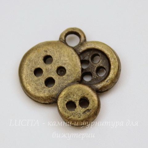 """Подвеска """"Пуговицы"""" 15х14 мм (цвет - античная бронза)"""