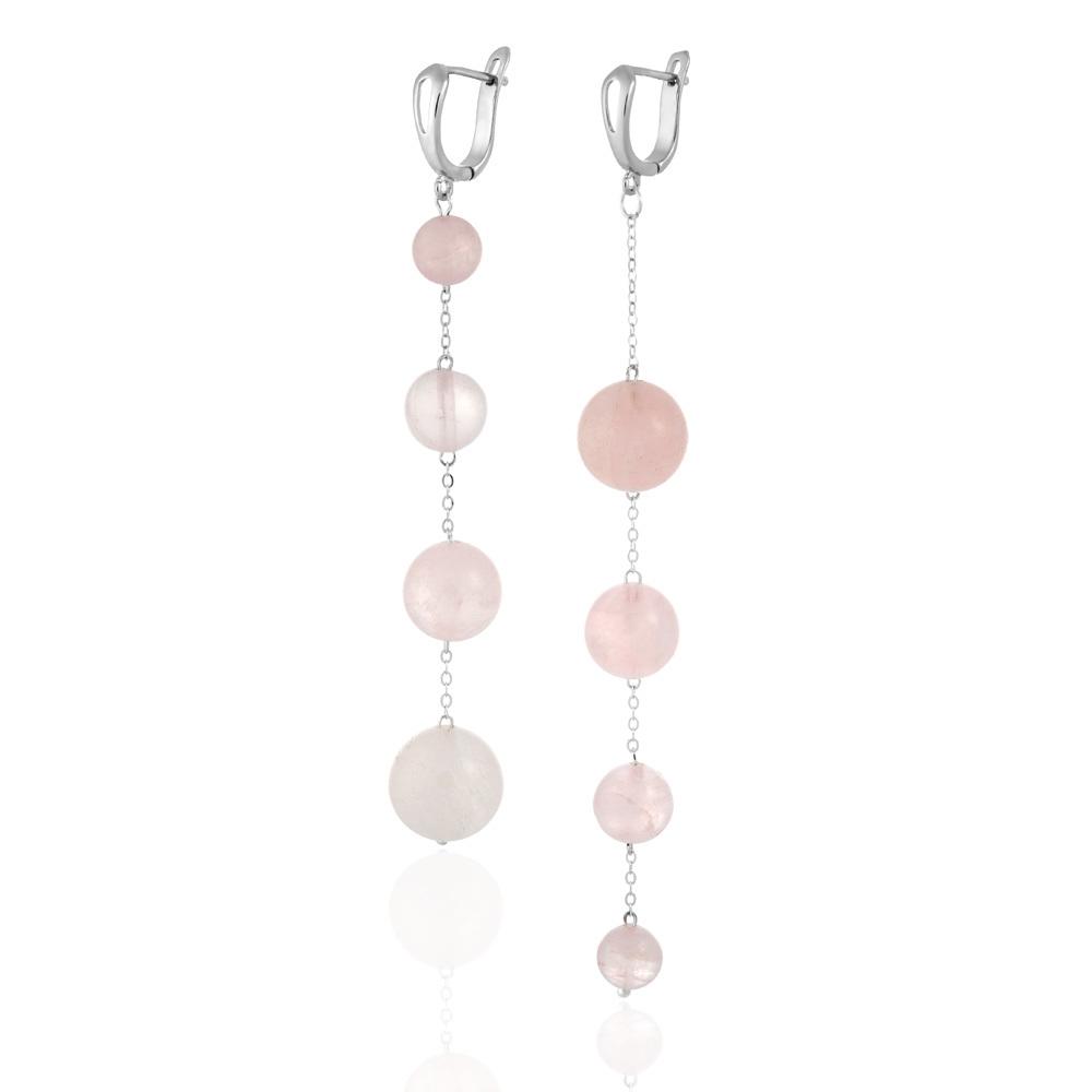 Серьги асимметричные с розовым кварцем