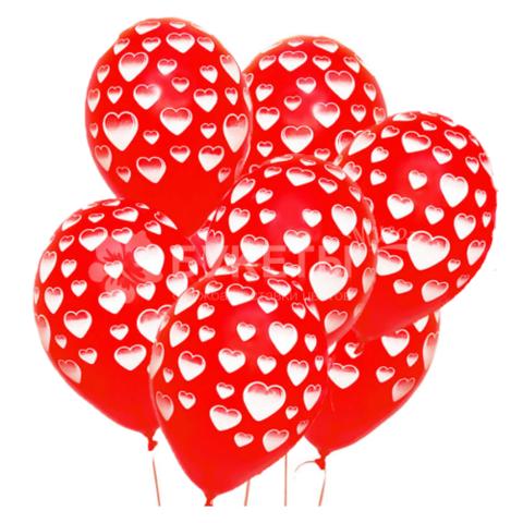 Шары красные, белые сердца, 30 см