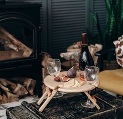 Складной столик для вина, светлый, фото 1