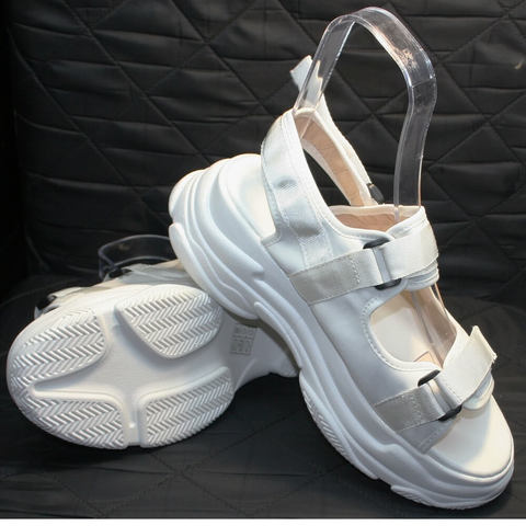 Спортивные босоножки на липучках. Женские спортивные сандали на платформе Small Swan White