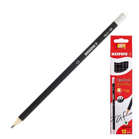 Карандаш чернографитный Kores HB трехгранный заточенный с ластиком