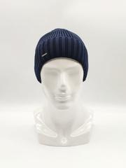 Мужская трикотажная шапка по голове, с отворотом, классика, синяя