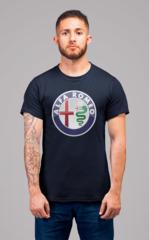 Мужская футболка с принтом Альфа Ромео (Alfa Romeo) темно-синяя 001