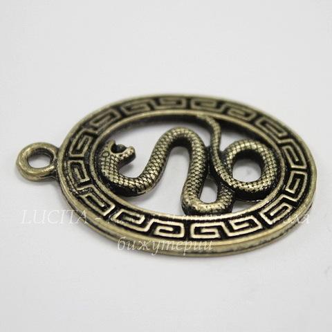 """Подвеска овальная """"Змея"""" (цвет - античная бронза) 35х25 мм"""