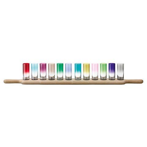 Набор разноцветных стопок для водки на подставке Paddle LSA International, 12 шт