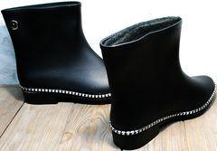 Резиновые сапоги с утеплителем женские модные Hello Rain Story 1019 Black.