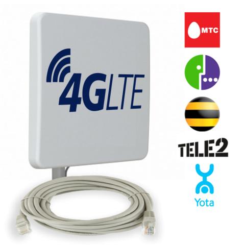 Антенна универсальная Ethernet 4G (MIMO 2Х16 Дб) со встроенным модемом и роутером
