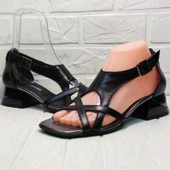 Красивые черные босоножки сандали женские Evromoda 166606 Black Leather.