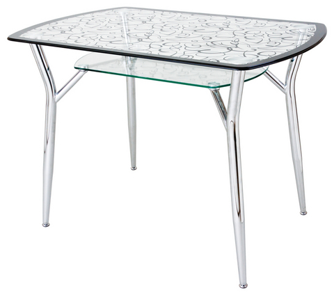 Кухонный обеденный стекланный стол А6С-2 с рисунком на хромированных ножках
