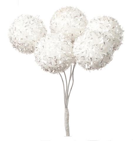 Набор шариков на вставках 6шт., размер: D3xH14см, цвет: белый