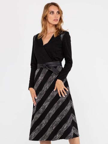 Фото трикотажное черное фактурное платье приталенного силуэта с кожаными вставками - Платье З312-247 (1)