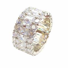 47988- Широкое кольцо -дорожка из серебра с цирконами