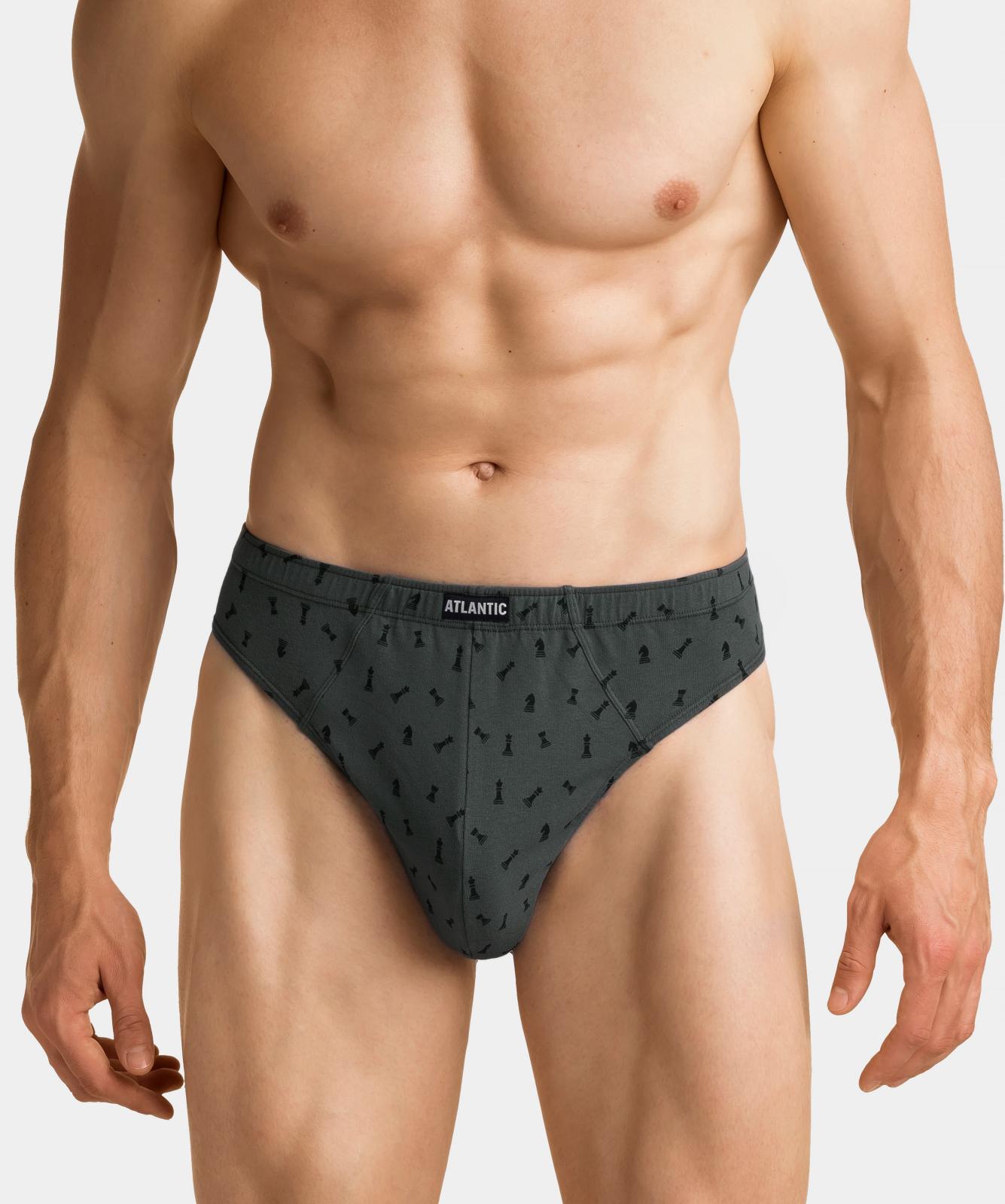 Мужские трусы слипы спорт Atlantic, набор 3 шт., хлопок, серый меланж + хаки, 3MP-111