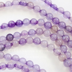 Бусина Агат (тониров), шарик, цвет - фиолетовый, 4 мм, нить