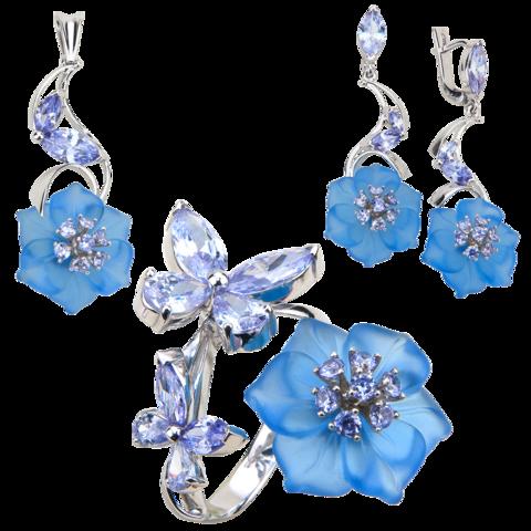 Комплект украшений с цветами из голубого кварца и кубическим цирконием цвета лаванды № 139