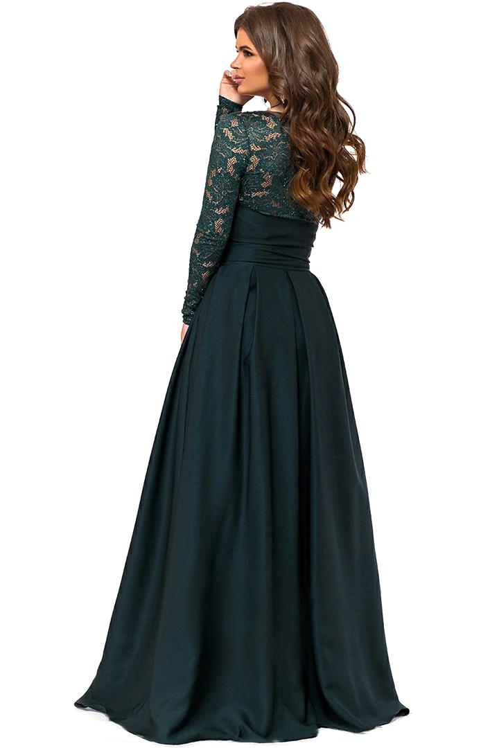 Длинное вечернее платье, изумрудного цвета