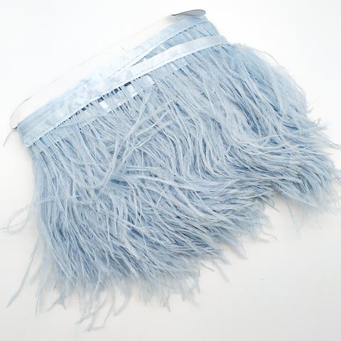 Тесьма  из перьев страуса h 10-15 см., пыльно-голубой (21)