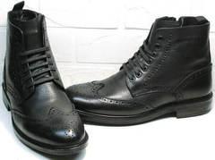 Кожаные зимние ботинки мужские Luciano BelliniBC3801L-Black