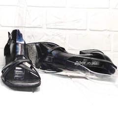 Кожаные женские босоножки с закрытой пяткой Evromoda 166606 Black Leather.