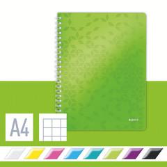 Бизнес-тетрадь Leitz Wow А4 80 листов зеленая в клетку на спирали (240х307 мм)