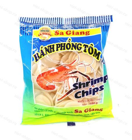 Чипсы рисовые креветочные для жарки Sa Giang, Вьетнам 100 гр.