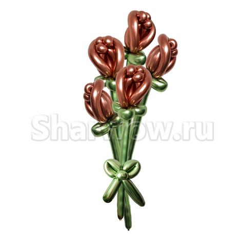 Букет роз из воздушных шаров, розовое золото и лайм