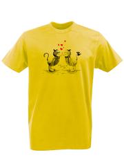 Футболка с принтом Кот, Кошка, Котенок (кошки) желтая 002