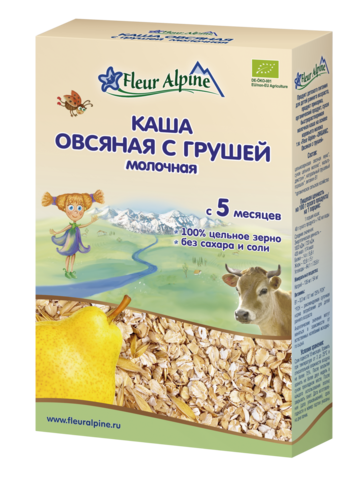 Каша Fleur Alpine Organic молочная овсяная с грушей
