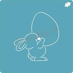 Трафарет Кролик с яйцом форма для пряника, мастики, печенья