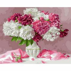 Картина раскраска по номерам 40x50 Белые и розовые пионы в вазе