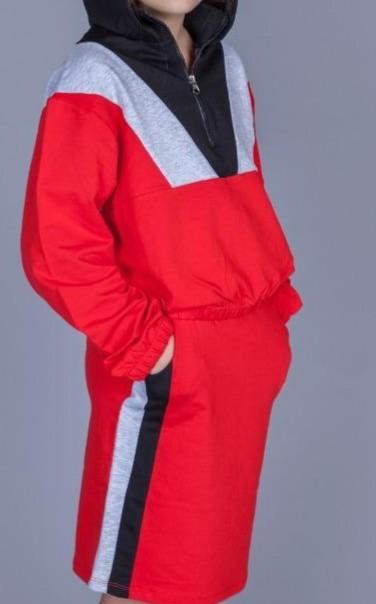 3006 костюм спортивный худи с юбкой