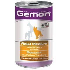 Консервы для собак Gemon Dog Medium кусочки курицы с индейкой