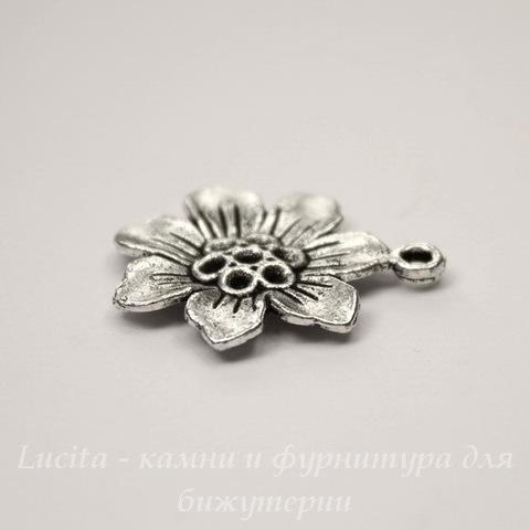 """Подвеска """"Цветок семь лепестков"""" 21 мм (цвет - античное серебро)"""